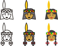 Native American woman and man icons Stock Photo