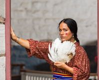 Native American woman of the 1700s. Native American woman of the early 1800s at Fort De Chartres stock photo