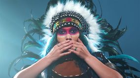 Native American woman is trying to say something stock video
