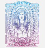 Native American Woman Warrior with Tribal frame. Vector Illustration for Tshirts Stock Photography