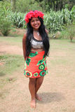 Native american young woman. Native american (indian) woman, Embera tribe in Panama royalty free stock photography