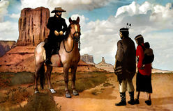 Native americans. Illustration representing a cowboy on a horse meeting a couple of native americans and their baby in the desert Stock Photos