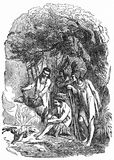 Native Americans cooking a meal. Engraving of native Americans cooking a meal, supposedly in the days before Europeans arrived. From A New History of the USA, by Royalty Free Stock Photo