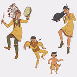 Native americans, dancing indian family in traditional costume Stock Photo