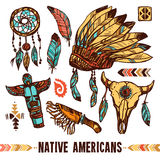 Native Americans Decorative Icon Set Royalty Free Stock Photography
