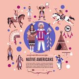 Native Americans Design Concept. With persons in ethnic dress national  attributes and hunting equipment cartoon vector illustration Royalty Free Stock Photography