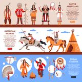 Native Americans Horizontal Banners. With indians in national clothes wigwam and element of tribal culture cartoon vector illustration Stock Photos