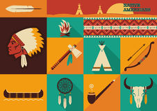 Native Americans icons.Vector flat design. American indian set of icons.Vector illustration of flat design style Stock Photo