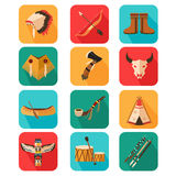 Native Americans icons. A vector illustration of Native Americans icon sets Royalty Free Stock Photography