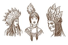 Native Americans isolated sketch portraits of Indians stock illustration