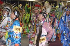 Native Americans Promenade During Pow Wow Ceremony Royalty Free Stock Photos