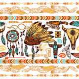 Native Americans Seamless Pattern Royalty Free Stock Photography