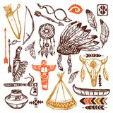 Native Americans Set. With hand drawn feathers headband and traditional patterns isolated vector illustration Stock Photos