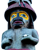 Native art. A totem pole, hand carved from a large Red Cedar tree , stands in  Victoria B.C. , Canada Stock Images