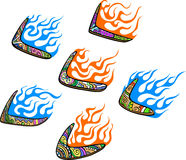 Native Australian Boomerangs with Flames. Set of color vector illustrations Royalty Free Illustration