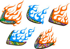 Native Australian Boomerangs with Flames. Set of color vector illustrations Stock Illustration