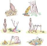 Native Australian Sketches Royalty Free Stock Photo
