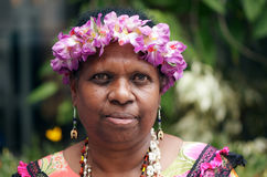 Native Australian woman. Mature indigenous woman from the Pacific Ocean Torres Strait Islands; she is a member of the band Malu Kiai Mura Buai, which performed Royalty Free Stock Photography