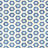 Native batik seamless watercolor artistic boho style colorful square pattern. Native batik watercolor artistic blue and white pattern. Ethnic boho style royalty free illustration
