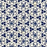 Native batik seamless watercolor artistic boho style colorful square pattern. Stock Images