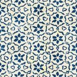 Native batik seamless watercolor artistic boho style colorful square pattern. Stock Photography