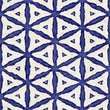 Native batik seamless watercolor artistic boho style colorful square pattern. Stock Photos