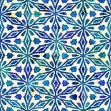 Native batik seamless watercolor artistic boho style colorful square pattern. Native batik watercolor artistic blue and white pattern with flowers or snowflakes stock photos