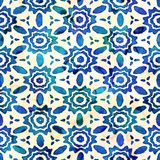Native batik seamless watercolor artistic boho style colorful square pattern. royalty free stock photos