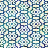 Native batik seamless watercolor artistic boho style colorful square pattern. Native batik watercolor artistic blue and white pattern with flowers or snowflakes stock photo