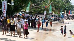Native beach party. Crowded beach on poson festival Unawatuna Sri Lanka Stock Photos