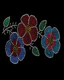 Native Bead Flowers. Native American Indian style bead work with a flower pattern and a circular pattern, in a dot painting style stock illustration