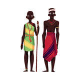 Native black aboriginal man and woman from African tribe Royalty Free Stock Image
