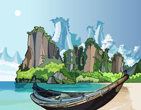 Native boat on the Bay Ocean. With mountains royalty free illustration
