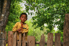 The native boy in the pear orchard in danba,sichuan,china Royalty Free Stock Photo