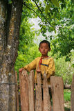 The native boy in the pear orchard in danba,sichuan,china Royalty Free Stock Images