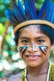 Native Brazilian boy at an indigenous tribe in the Amazon.  royalty free stock photography