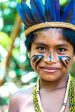 Native Brazilian boy at an indigenous tribe in the Amazon.  Royalty Free Stock Photos