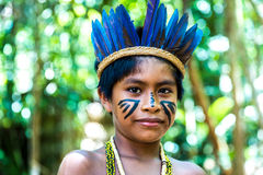 Native Brazilian boy at an indigenous tribe in the Amazon Royalty Free Stock Photos
