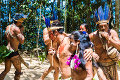 Native Brazilian dancing at an indigenous tribe in the Amazon Royalty Free Stock Photo