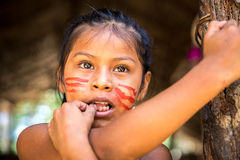 Native Brazilian girl smiling at an indigenous tribe in the Amazon.  stock image