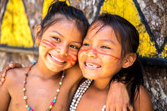 Native Brazilian girls at an indigenous tribe in the Amazon Stock Images