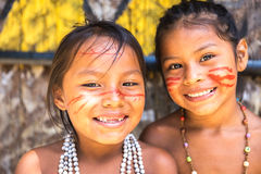 Native Brazilian girls at an indigenous tribe in the Amazon.  stock photo