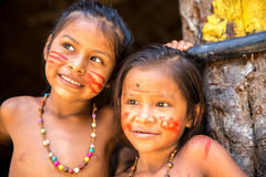Native Brazilian girls at an indigenous tribe in the Amazon.  royalty free stock photo