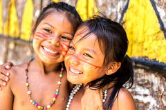 Native Brazilian girls at an indigenous tribe in the Amazon Stock Photo