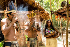Native Brazilian group playing wooden flute at an indigenous tribe in the Amazon Stock Photos
