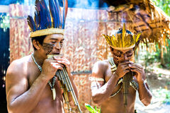 Native Brazilian guys playing wooden flute at an indigenous tribe in the Amazon Royalty Free Stock Photo