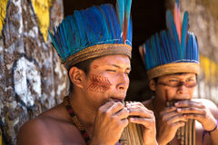 Native Brazilian guys playing wooden flute at an indigenous tribe in the Amazon Stock Images