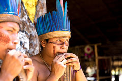 Native Brazilian guys playing wooden flute at an indigenous tribe in the Amazon Stock Image