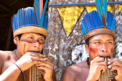 Native Brazilian guys playing wooden flute at an indigenous tribe in the Amazon.  Stock Photos