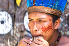 Native Brazilian guys playing wooden flute at an indigenous tribe in the Amazon.  royalty free stock images